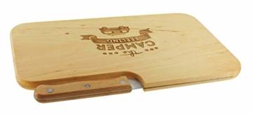 meinbecher nachhaltiges Brotzeitbrett Schneidebrett Jausenbrett Holz Messer Geschenk Männer Frauen Geschenkidee für Ihn & Sie_Camper Feeling - 4