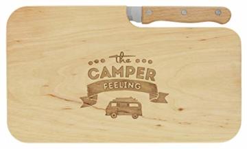 meinbecher nachhaltiges Brotzeitbrett Schneidebrett Jausenbrett Holz Messer Geschenk Männer Frauen Geschenkidee für Ihn & Sie_Camper Feeling - 1
