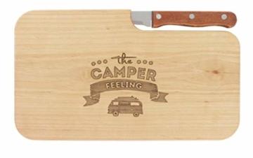 meinbecher nachhaltiges Brotzeitbrett Schneidebrett Jausenbrett Holz Messer Geschenk Männer Frauen Geschenkidee für Ihn & Sie_Camper Feeling - 5