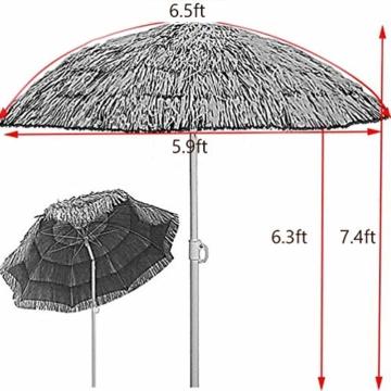 mit Neigungsfunktion Hawaii Tiki Sonnenschirm Gartenschirm Sonnenschirm Hawaii Strandschirm Natürliche Farbe Mit Regenschirmbasis und Wassersack Höhenverstellbar Terrassenschirm - 2