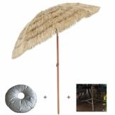mit Neigungsfunktion Hawaii Tiki Sonnenschirm Gartenschirm Sonnenschirm Hawaii Strandschirm Natürliche Farbe Mit Regenschirmbasis und Wassersack Höhenverstellbar Terrassenschirm - 1