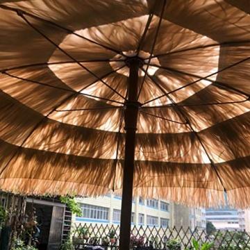 mit Neigungsfunktion Hawaii Tiki Sonnenschirm Gartenschirm Sonnenschirm Hawaii Strandschirm Natürliche Farbe Mit Regenschirmbasis und Wassersack Höhenverstellbar Terrassenschirm - 3