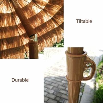 mit Neigungsfunktion Hawaii Tiki Sonnenschirm Gartenschirm Sonnenschirm Hawaii Strandschirm Natürliche Farbe Mit Regenschirmbasis und Wassersack Höhenverstellbar Terrassenschirm - 4