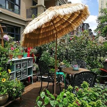 mit Neigungsfunktion Hawaii Tiki Sonnenschirm Gartenschirm Sonnenschirm Hawaii Strandschirm Natürliche Farbe Mit Regenschirmbasis und Wassersack Höhenverstellbar Terrassenschirm - 6