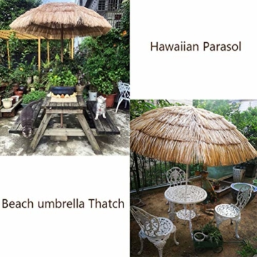 mit Neigungsfunktion Hawaii Tiki Sonnenschirm Gartenschirm Sonnenschirm Hawaii Strandschirm Natürliche Farbe Mit Regenschirmbasis und Wassersack Höhenverstellbar Terrassenschirm - 7