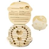 Mogokoyo Deutsch Version baby Kinder Original Holz Haar Milchzahndose Milchzähne Zähne box Kasten Souvenir Aufbewahrungsbox - 1