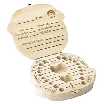 Mogokoyo Deutsch Version baby Kinder Original Holz Haar Milchzahndose Milchzähne Zähne box Kasten Souvenir Aufbewahrungsbox - 5