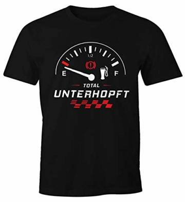 MoonWorks Herren T-Shirt Total Unterhopft Bier Tankanzeige Tacho Fun-Shirt schwarz L - 1