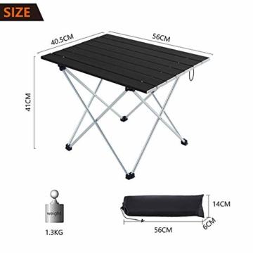 Movaty Klapptisch Aluminium,Esstisch,campingtisch,Leicht tragbar,Fishing,für Camping im Freien Picknick Angeln 56 x 41 x 40 cm (Schwarz) - 2