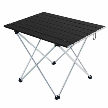 Movaty Klapptisch Aluminium,Esstisch,campingtisch,Leicht tragbar,Fishing,für Camping im Freien Picknick Angeln 56 x 41 x 40 cm (Schwarz) - 1