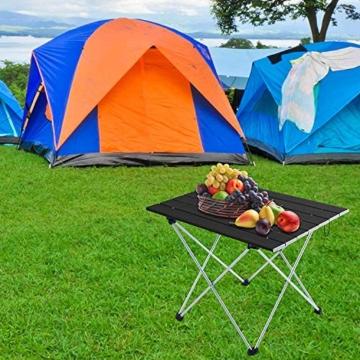 Movaty Klapptisch Aluminium,Esstisch,campingtisch,Leicht tragbar,Fishing,für Camping im Freien Picknick Angeln 56 x 41 x 40 cm (Schwarz) - 5