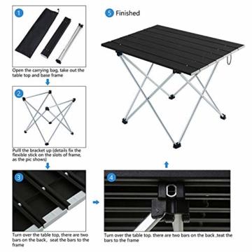 Movaty Klapptisch Aluminium,Esstisch,campingtisch,Leicht tragbar,Fishing,für Camping im Freien Picknick Angeln 56 x 41 x 40 cm (Schwarz) - 6