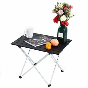 Movaty Klapptisch Aluminium,Esstisch,campingtisch,Leicht tragbar,Fishing,für Camping im Freien Picknick Angeln 56 x 41 x 40 cm (Schwarz) - 7