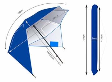 MT MALATEC Sonnenschirm-Muschel Strandschirm Windschutz 230cm Sonnenschutz 10066 - 3