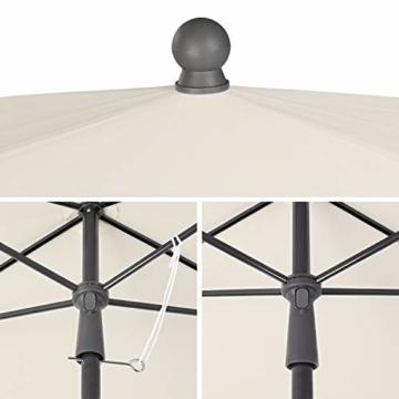 MVPower Sonnenschirm, 200 x 125 cm Marktschirm rechteckig knickbar, Gartenschirm UV-Schutz 50+, Regenfest Sonnenschirme, Terrassenschirm für Balkon, Garten und Terrass, 180 g/m², Beige - 3
