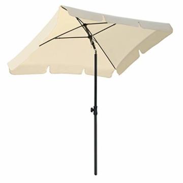 MVPower Sonnenschirm, 200 x 125 cm Marktschirm rechteckig knickbar, Gartenschirm UV-Schutz 50+, Regenfest Sonnenschirme, Terrassenschirm für Balkon, Garten und Terrass, 180 g/m², Beige - 1