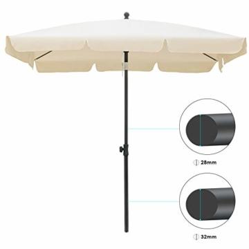 MVPower Sonnenschirm, 200 x 125 cm Marktschirm rechteckig knickbar, Gartenschirm UV-Schutz 50+, Regenfest Sonnenschirme, Terrassenschirm für Balkon, Garten und Terrass, 180 g/m², Beige - 5