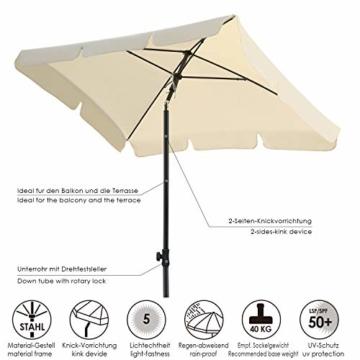 MVPower Sonnenschirm, 200 x 125 cm Marktschirm rechteckig knickbar, Gartenschirm UV-Schutz 50+, Regenfest Sonnenschirme, Terrassenschirm für Balkon, Garten und Terrass, 180 g/m², Beige - 6