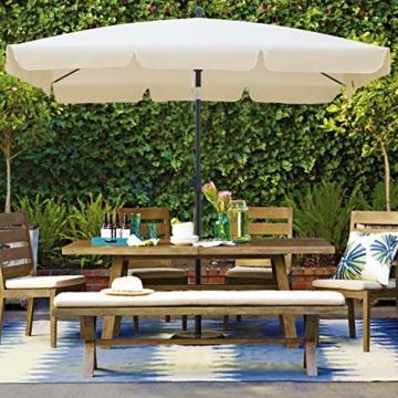 MVPower Sonnenschirm, 200 x 125 cm Marktschirm rechteckig knickbar, Gartenschirm UV-Schutz 50+, Regenfest Sonnenschirme, Terrassenschirm für Balkon, Garten und Terrass, 180 g/m², Beige - 7