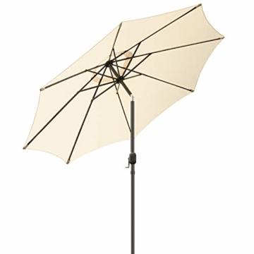 MVPower Sonnenschirm, 2,7m Sonnenschirm UV-Schutz UPF 50+, Marktschirm mit 8 Stahlverstrebungen und Kurbel, Gartenschirm Terrassenschirm rund regendicht Outdoor, für Garten, Balkon, Terrasse, 180 g/m² - 2