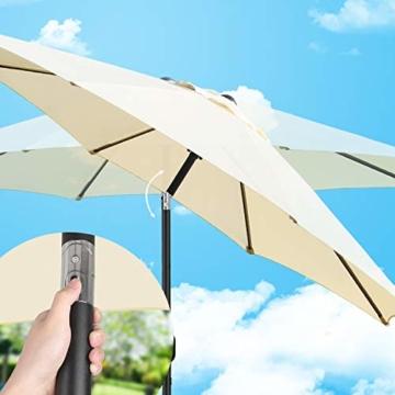 MVPower Sonnenschirm, 2,7m Sonnenschirm UV-Schutz UPF 50+, Marktschirm mit 8 Stahlverstrebungen und Kurbel, Gartenschirm Terrassenschirm rund regendicht Outdoor, für Garten, Balkon, Terrasse, 180 g/m² - 3