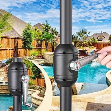 MVPower Sonnenschirm, 2,7m Sonnenschirm UV-Schutz UPF 50+, Marktschirm mit 8 Stahlverstrebungen und Kurbel, Gartenschirm Terrassenschirm rund regendicht Outdoor, für Garten, Balkon, Terrasse, 180 g/m² - 4