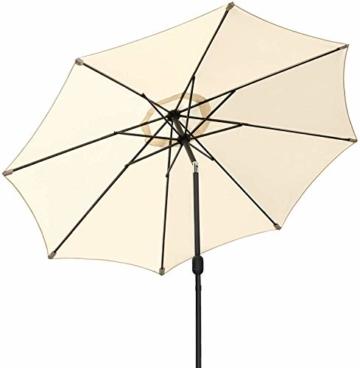 MVPower Sonnenschirm, 2,7m Sonnenschirm UV-Schutz UPF 50+, Marktschirm mit 8 Stahlverstrebungen und Kurbel, Gartenschirm Terrassenschirm rund regendicht Outdoor, für Garten, Balkon, Terrasse, 180 g/m² - 1