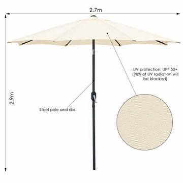 MVPower Sonnenschirm, 2,7m Sonnenschirm UV-Schutz UPF 50+, Marktschirm mit 8 Stahlverstrebungen und Kurbel, Gartenschirm Terrassenschirm rund regendicht Outdoor, für Garten, Balkon, Terrasse, 180 g/m² - 5