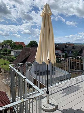 MVPower Sonnenschirm, 2,7m Sonnenschirm UV-Schutz UPF 50+, Marktschirm mit 8 Stahlverstrebungen und Kurbel, Gartenschirm Terrassenschirm rund regendicht Outdoor, für Garten, Balkon, Terrasse, 180 g/m² - 6