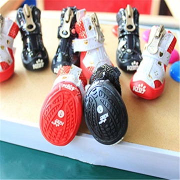 MYYXGS Schutzstiefel rutschfeste Schnürsenkel mit Klettverschluss und Reißverschluss für kleine Haustiere Langer Spaziergang (2 Sätze) 4,7 * 3,5 cm - 3