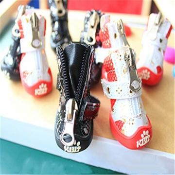 MYYXGS Schutzstiefel rutschfeste Schnürsenkel mit Klettverschluss und Reißverschluss für kleine Haustiere Langer Spaziergang (2 Sätze) 4,7 * 3,5 cm - 1
