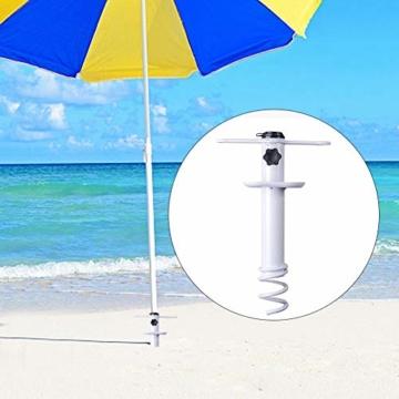 NAKELUCY Strandschirm Sandanker, winddichter tragbarer Strand Sandschirm Anker Dachschirm Basishalter, Hochleistungs-Sonnenschirm Anker Pfahl Einheitsgröße Für alle sicher für starken Wind - 2