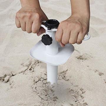 NAKELUCY Strandschirm Sandanker, winddichter tragbarer Strand Sandschirm Anker Dachschirm Basishalter, Hochleistungs-Sonnenschirm Anker Pfahl Einheitsgröße Für alle sicher für starken Wind - 4