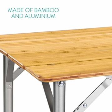 Navaris Bambus Campingtisch faltbar - Klapptisch belastbar bis 30kg für Outdoor Camping Angeln - Tisch Aluminium Beine - klappbar höhenverstellbar - 2