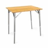 Navaris Bambus Campingtisch faltbar - Klapptisch belastbar bis 30kg für Outdoor Camping Angeln - Tisch Aluminium Beine - klappbar höhenverstellbar - 1