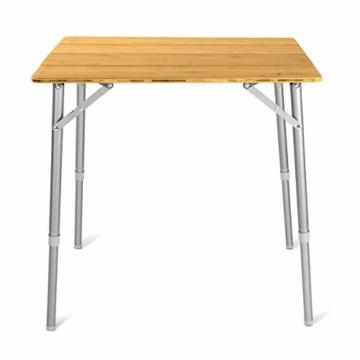 Navaris Bambus Campingtisch faltbar - Klapptisch belastbar bis 30kg für Outdoor Camping Angeln - Tisch Aluminium Beine - klappbar höhenverstellbar - 3