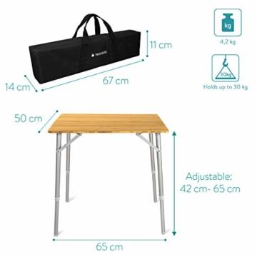 Navaris Bambus Campingtisch faltbar - Klapptisch belastbar bis 30kg für Outdoor Camping Angeln - Tisch Aluminium Beine - klappbar höhenverstellbar - 4