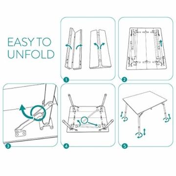 Navaris Bambus Campingtisch faltbar - Klapptisch belastbar bis 30kg für Outdoor Camping Angeln - Tisch Aluminium Beine - klappbar höhenverstellbar - 5