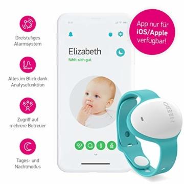 Neebo Sensor-Armband zur Atmungsüberwachung bei Babys & Kindern | misst Herzfrequenz, Sauerstoffsättigung, Temperatur & Schlafdauer | per Bluetooth auf iOS App (Powered by Telekom) - 2