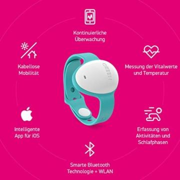 Neebo Sensor-Armband zur Atmungsüberwachung bei Babys & Kindern | misst Herzfrequenz, Sauerstoffsättigung, Temperatur & Schlafdauer | per Bluetooth auf iOS App (Powered by Telekom) - 4