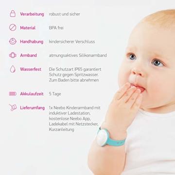 Neebo Sensor-Armband zur Atmungsüberwachung bei Babys & Kindern | misst Herzfrequenz, Sauerstoffsättigung, Temperatur & Schlafdauer | per Bluetooth auf iOS App (Powered by Telekom) - 6