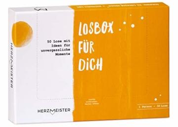 NEU: Losbox für Frau oder Mann | Als Geschenk zum Geburtstag, Mitbringsel oder Dankeschön | 50 Lose mit Ideen für Spiel, Spaß & Entspannung | Die Geschenkidee für Partner, Freund, Freundin & Kollegen - 1