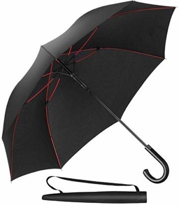 Newdora Stockschirm Regenschirm Windproof Manuelles Schließen Fiberglas Rippen Golf Umbrella Lightweight Extra Large 210T Wasserdichter Golfschirm Herren Damen mit rutschsicherem Griff (Schwarz) - 1
