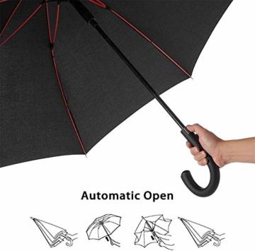Newdora Stockschirm Regenschirm Windproof Manuelles Schließen Fiberglas Rippen Golf Umbrella Lightweight Extra Large 210T Wasserdichter Golfschirm Herren Damen mit rutschsicherem Griff (Schwarz) - 8