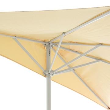 Nexos Sonnenschirm Champagner halbrund Ø 2,70 x 1,40m Wandschirm Balkon-Schirm mit Kurbel Polyester 160 g/m² Sonnenschutz - 2