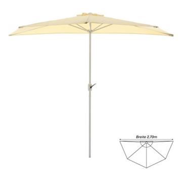 Nexos Sonnenschirm Champagner halbrund Ø 2,70 x 1,40m Wandschirm Balkon-Schirm mit Kurbel Polyester 160 g/m² Sonnenschutz - 3