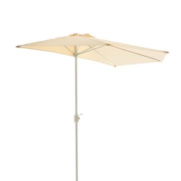 Nexos Sonnenschirm Champagner halbrund Ø 2,70 x 1,40m Wandschirm Balkon-Schirm mit Kurbel Polyester 160 g/m² Sonnenschutz - 4