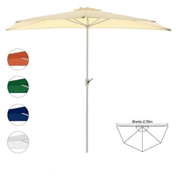Nexos Sonnenschirm Champagner halbrund Ø 2,70 x 1,40m Wandschirm Balkon-Schirm mit Kurbel Polyester 160 g/m² Sonnenschutz - 1