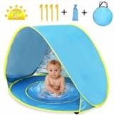Nice2you Strandmuschel Baby Strandzelt, Pop up Strandmuschel mit UV-Schutz UPF 50+ Sun Shelter Perfekt für Strandurlaub im Freien - 1