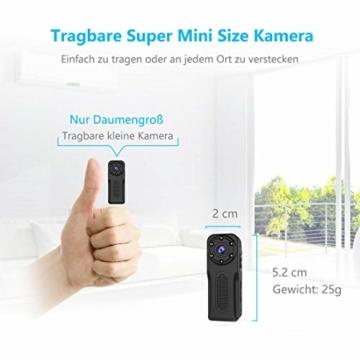 NIYPS wasserdichte Mini Kamera, Full HD 1080P Super Mini Cam, Tragbare Kleine Überwachungskamera mit Aufzeichnung, Kabellose Nanny Cam mit Bewegungserkennung und Infrarot Nachtsicht für Innen/Aussen - 2